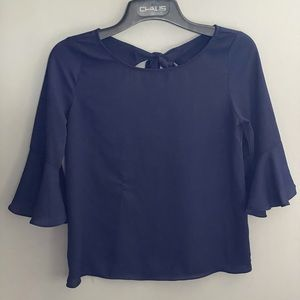 Everly sizes small navy blue blouse bow detail